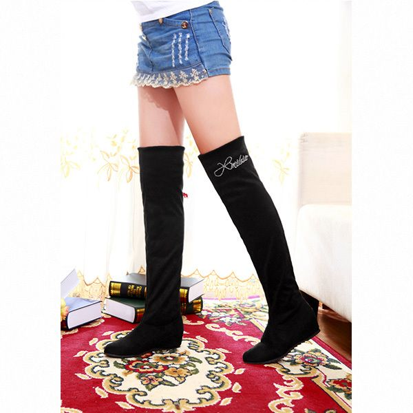 2014 autumn and winter fashion wild woman boots within the higher knee boots stretch fabric Slim boots Multiple worn  XY079