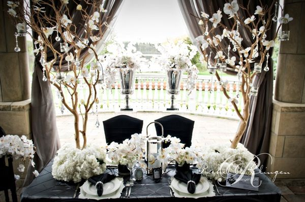 Black White Wedding Reception Centerpieces And Flowers Decor Flower