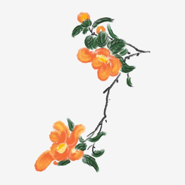 Orange Flowers Ink Flower Cartoon Chinese Style Illustration Chinese Style Ink Painting Hand Painted Ink Painting Hand Painted Png Transparent Clipart Image Chinese Painting Flowers Flower Painting Flower Clipart