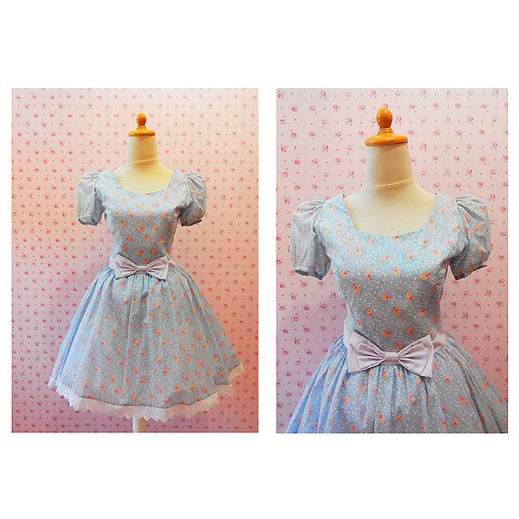 Handmade Summer Floral Blue Dress With Bow and by SenoritaHandmade