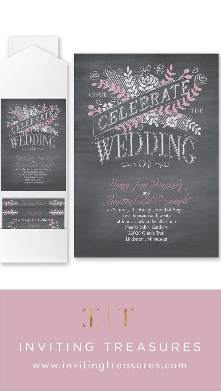 second wedding invitations wording%0A Wedding Invitation   Chalkboard Celebration is a pocket wedding invitation  with baby pink  white and