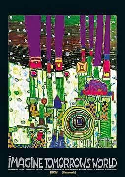 Friedensreich Hundertwasser - imagine tomorrows world (green version) - 944 blue blues