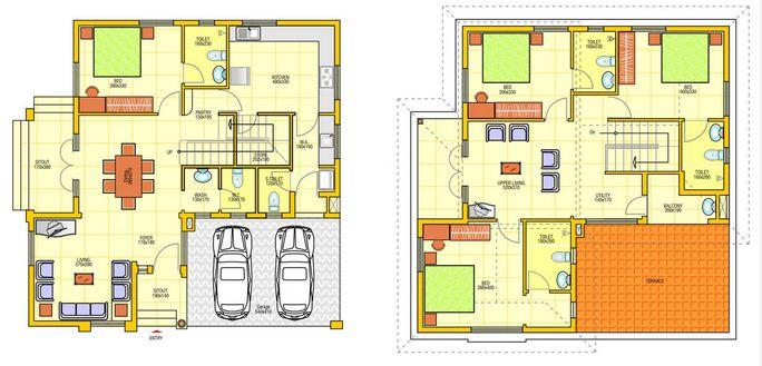 denah rumah minimalis 1 lantai dan 2 lantai 3d 5 house