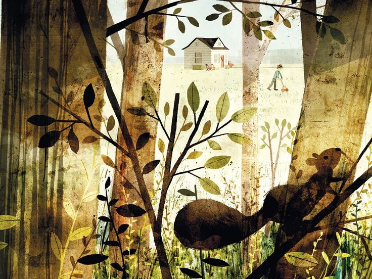 Jon Klassen: Positive and negative flat elements that overlap each other. Dirty textures and desaturated colors in a lot of nuances. Lots of layers put on top of each other. Apparently chaotic at a first glance, with richness of shapes, sizes and textures. Important things are not hidden behind other things. Really nice environment piece for the eyes to explore its details.