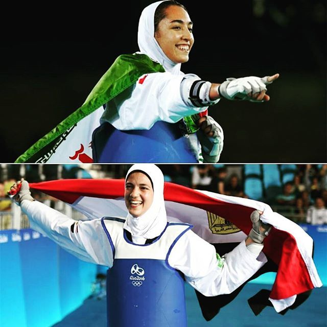 Iran's Kimia A. (top) and Egypt's Hedaya M. (bottom) both won medals in Taekwondo at the Rio Olympics. #hijabtkd #hijabifighters #muslimfighter #muslimfemalefighter #tkd #taekwondo #iran #egypt #tkdfighter #olympics #rio2016  #rioolympics
