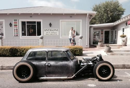 Rat Rod Mini Cooper. this thing is freaking cool! ..... Wouldn't even have to chop the top!
