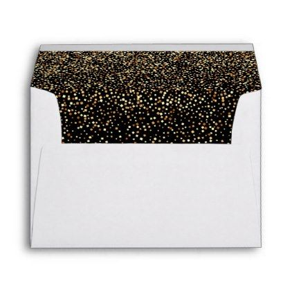 Glamorous black with faux gold confetti rain envelope - gold wedding gifts customize marriage diy unique golden