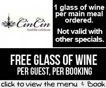 Booking Coupon - CinCin Restaurant, Cape Town