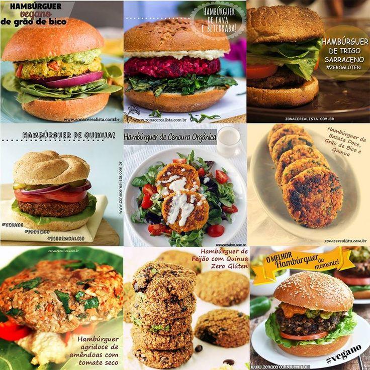 1) Hambúrguer vegano de grao de bico 2) Hambúrguer vegano de fava e beterraba 3) Hambúrguer de trigo sarraceno zero glúten 4) Hambúrguer de quinua 5) Hambúrguer de cenoura orgânica 6) Hambúrguer de batata doce grão de bico e quinua 7) Hambúrguer agridoce de amêndoas com tomate seco 8) Hambúrguer de feijão com quinua …