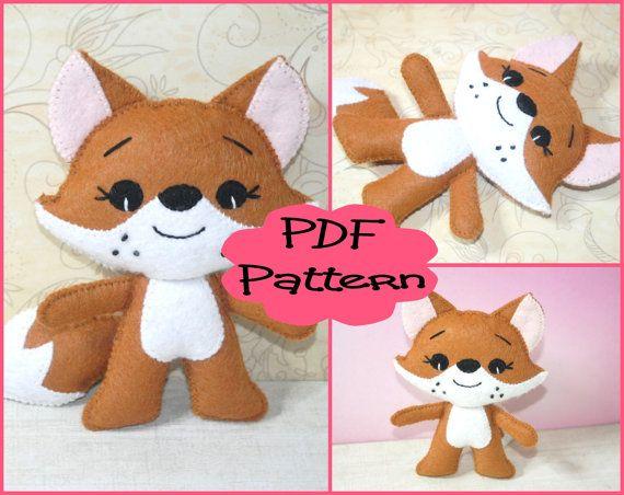 PDF Pattern  Little Fox Felt Animal Doll by EmmaIrlamCrafts