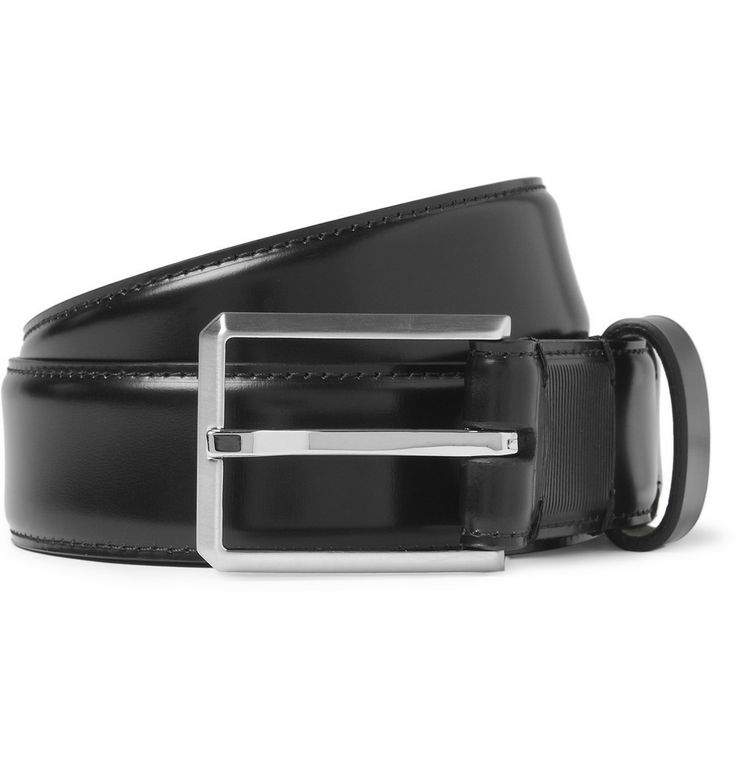 LANVIN - Black Highshine Leather Belt