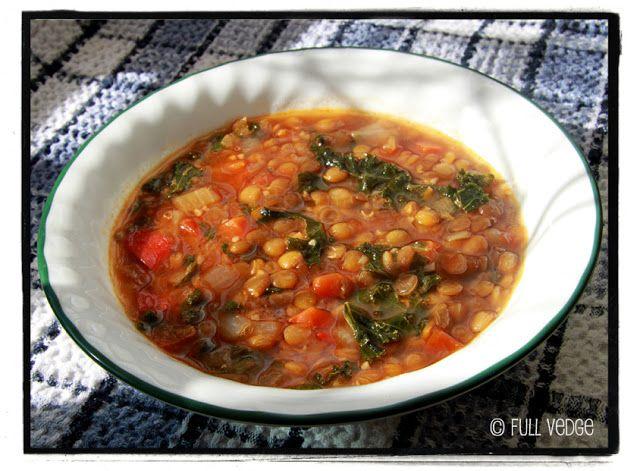 Soupe aux lentilles et au chou kale | Full vedge - Recettes végétariennes et gourmandes!