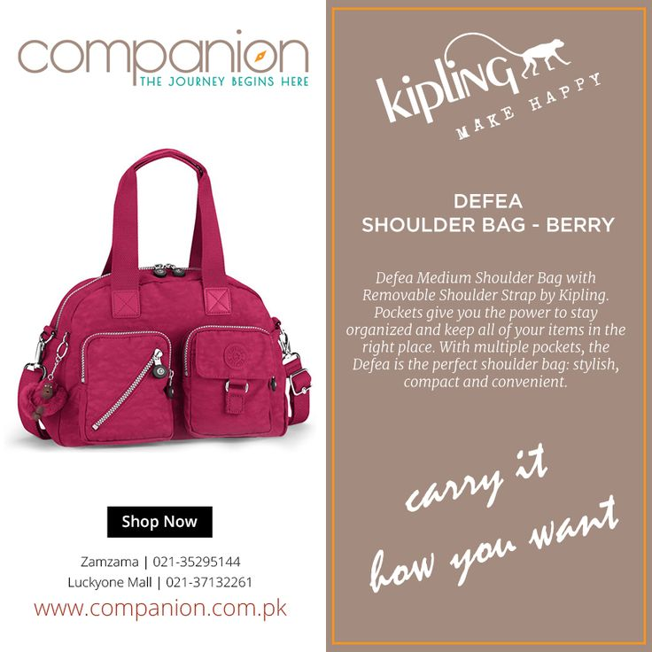 Defea Medium Shoulder Bag with Removable Shoulder Strap by Kipling. Pockets give you the power to stay organized and keep all of your items in the right place. With multiple pockets, the Defea is the perfect shoulder bag: stylish, compact and convenient. Duffel straps and a shoulder strap lets you wear and carry it how you want. Shop online from www.companion.com.pk  #CompanionPakistan #KiplingHandbags #HandbagsForWomanOnline