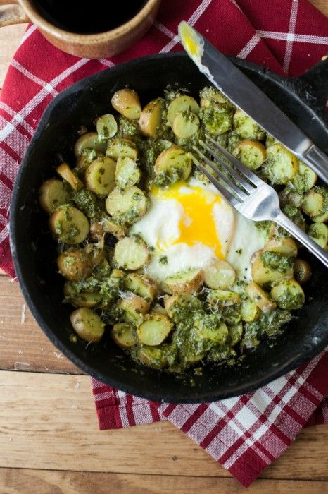 Pesto potato skillet.