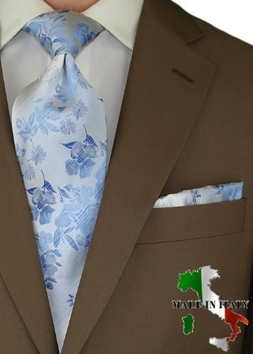 Berioni Hand Made In Italy 100 Woven Silk Mens Neck Tie Pocket Square Jacquard And Hanky Set Blue Light 19 50 Debonair Pinterest
