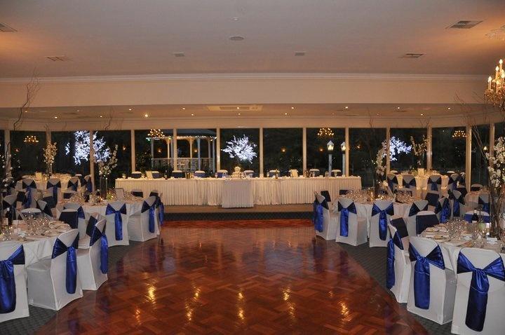 Reception Ball Room - Bram Leigh  stunning royal blue satin on white linens.