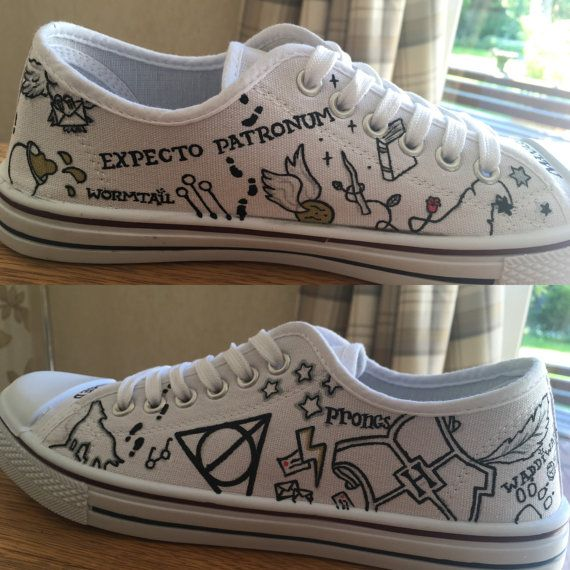LAST ORDERING DAY FOR GUARANTEED CHRISTMAS DELIVERY IS DECEMBER 10th!! Hand painted Harry Potter inspired minimalist Converse lows. (Unofficial) Shoes have various Harry Potter related images painted on, if theres any specific quotes/spells/character names you would like on the shoes instead of the ones in the pictures just send them along in a message when you order the shoes. every pair of shoes is made to order, so therefore may differ slightly from the picture. the shoes shown i...