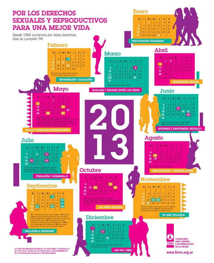 FEIM presenta su nuevo calendario, con las fechas destacadas para el movimiento de mujeres.   Este año, el afiche está dedicado a los derechos sexuales y reproductivos reconocidos en la histórica Conferencia de Población y Desarrollo de 1994, en El Cairo.  http://www.feim.org.ar