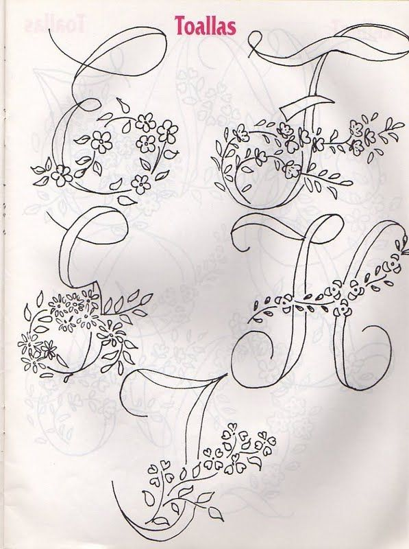 E F G H I embroidery floral