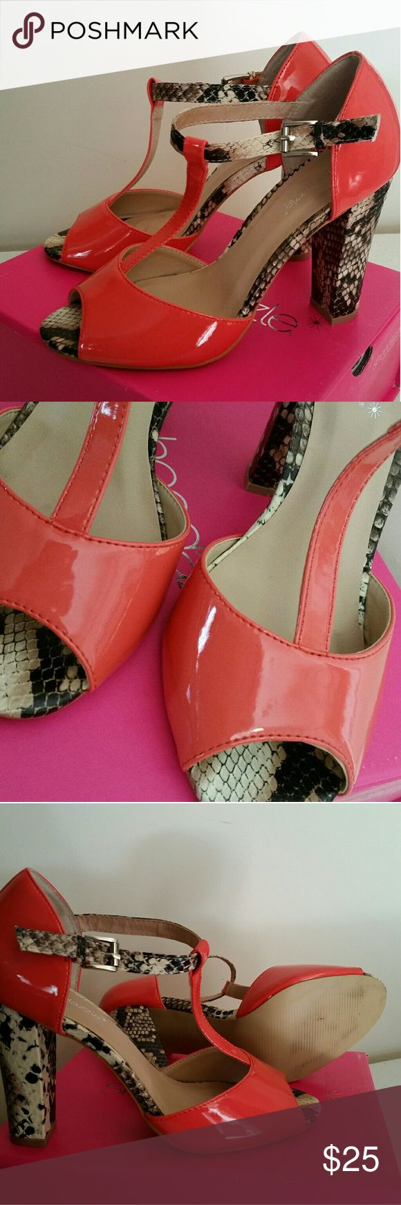 Shoe Dazzle Coral T-Strap Heel Sandals Patent Beautiful heels. Perfect condition. Worn 1 time. Come with box. More of a true coral color....not as orange as they appear in photo. Shoe Dazzle Shoes Heels