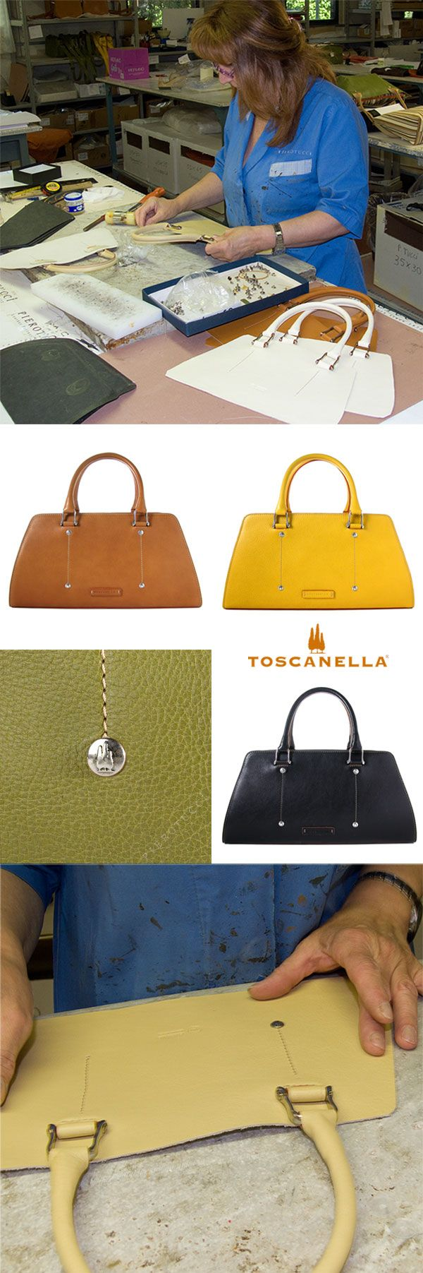 #Pierotucci Italian Leather Workshop.  Renza is putting in the signature cypress tree buttons on the #Toscanella Italian #LeatherHandbags , classic style.  http://www.pierotucci.com/bags/handbags/