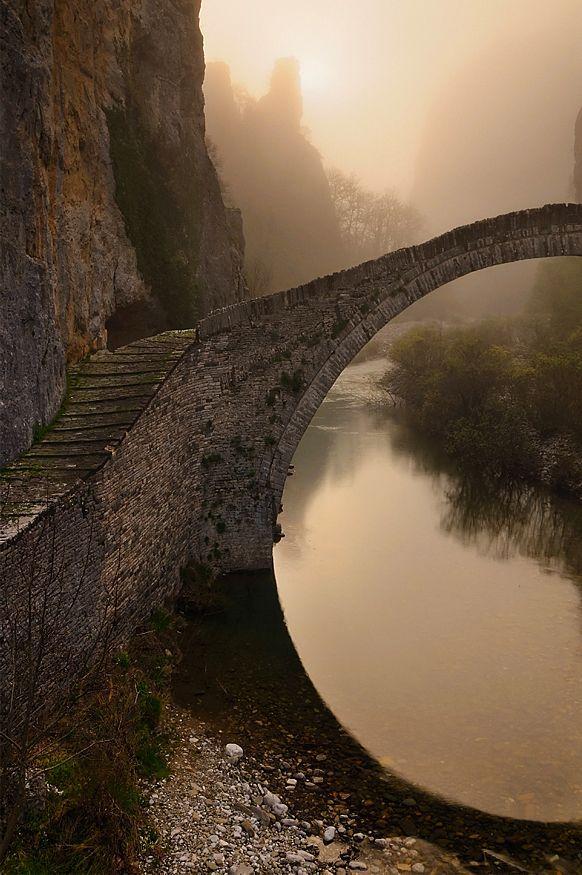 Single arched stone bridge of Kokkorou, Epirus, Greece