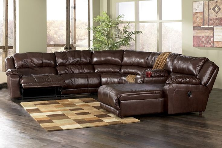 Ashley braxton reclining sectional with chaise java for Ashley leather sectional with chaise