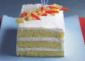 Elizabeth Falkner's Rum Butter Cake with Key Lime Cream and Tropical Fruits