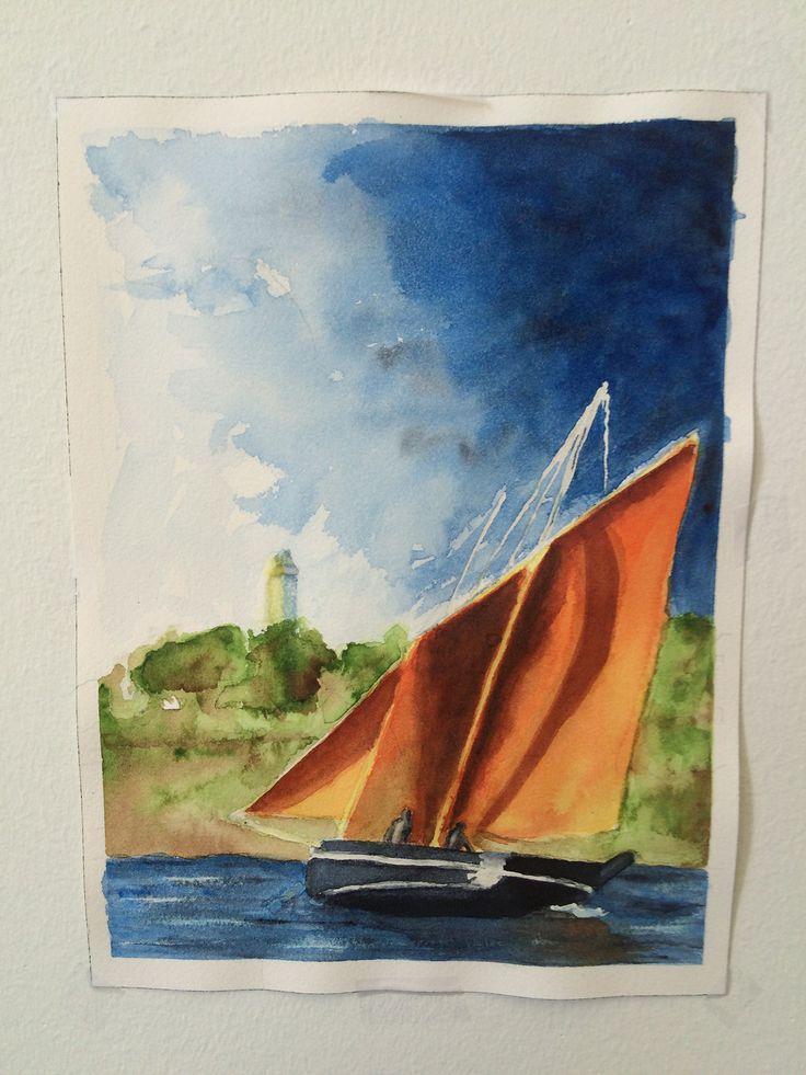Voile et tempête, aquarelle par Annie Collette