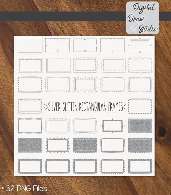 32 Silver Glitter Rectangular Frames Clip Art  Hand Drawn