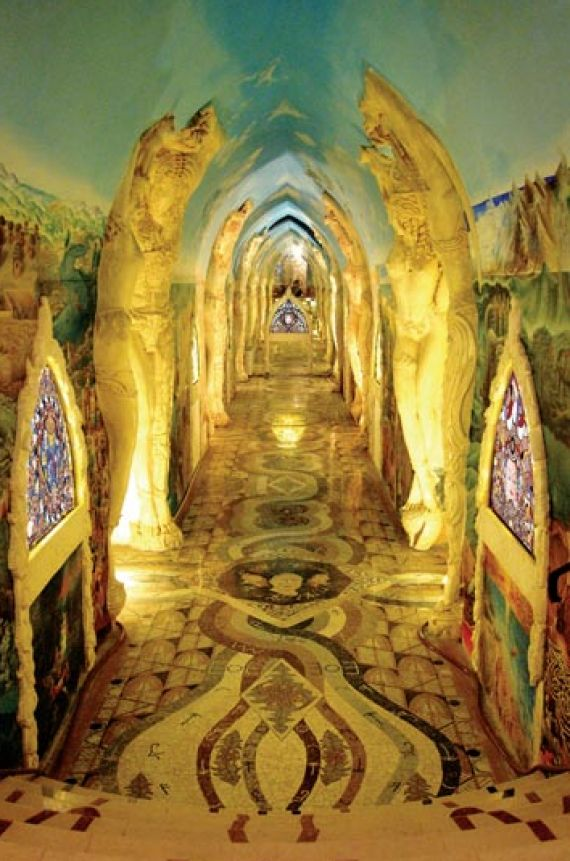Image of Temple of Damanhur located in Regione Piemonte, Italy  It has come to be known as the eighth wonder of the world. Beneath a suburban house in northern Italy lies a massive underground temple built entirely in secret by a group of non-architects, working around the clock for 15 years.