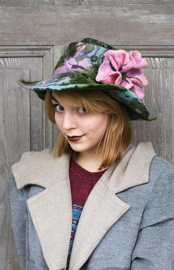Unique and elegant felted hat in shades of green, pink and blue, bohemian style hat with wide floppy brim and pink impressive flower. This stylish hat is made nuno felting technique with best quality merino wool and pieces of decorative silk fabric, natural bamboo fibers and wool curls. Hand