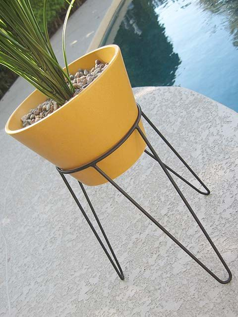 Modern Mid Century Tripod Base Planter - Case Study Eames Era Hairpin Architectural Pottery Style Gainey Ceramics. $99.99, via Etsy.
