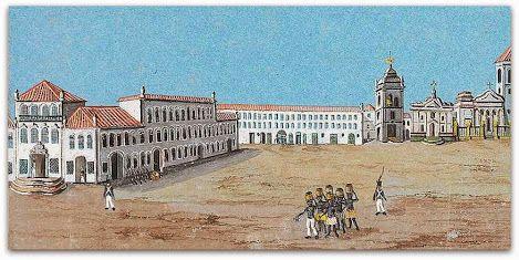 Vista do Largo do Carmo no centro do Rio, poucos anos depois da chegada da corte em 7 de Março de 1808. A Corte Portuguesa permaneceu no Brasil de 1808 a 1821. A entrada das tropas napoleónicas em Portugal, a 27 de Novembro de 1807 levavam à saída do regente, D. João VI, sua mãe, a rainha D. Maria I, os seus familiares e cortesãos para o Brasil.