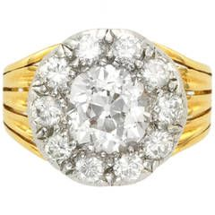 Antique Diamond Silver Gold Cluster Engagement Ring