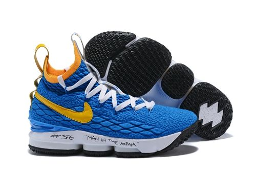 2fff3d3f3c93b3 2018 Nike LeBron 15 Waffle Trainer Blue Yellow For Sale