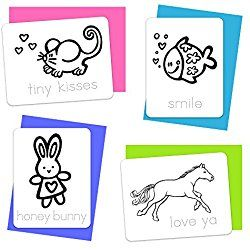 12 Coloring Cards for Valentine's Day Color 'n Kids Valentine Love Notes
