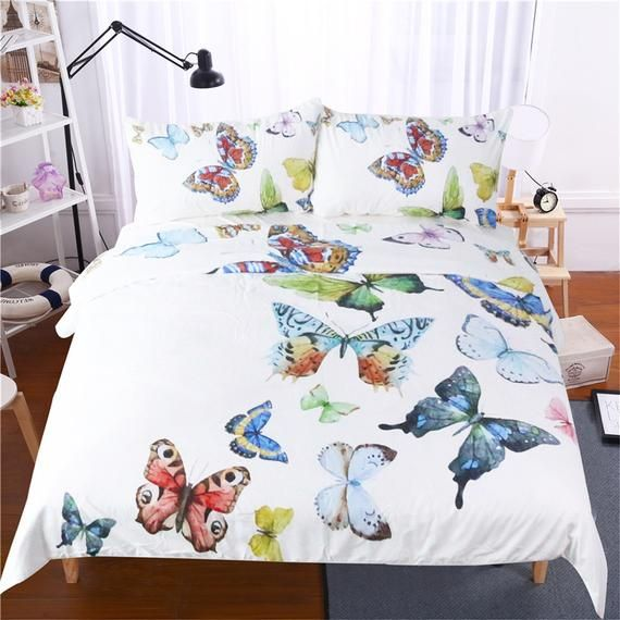 Colorful Butterfly Bedding Set White Duvet Cover Set Twin Full Queen King Size Comforter Set With 2 Pillow Cases Bedding Sets Butterfly Bedding Set Bed Cover Sets