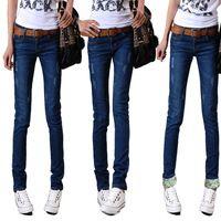 La manera clásica del envío libre de la vendimia detallada Mujer del arco lateral de los pantalones vaqueros rasgados recorte casuales / Pantalones tamaño completo de mezclilla de las mujeres atractivas