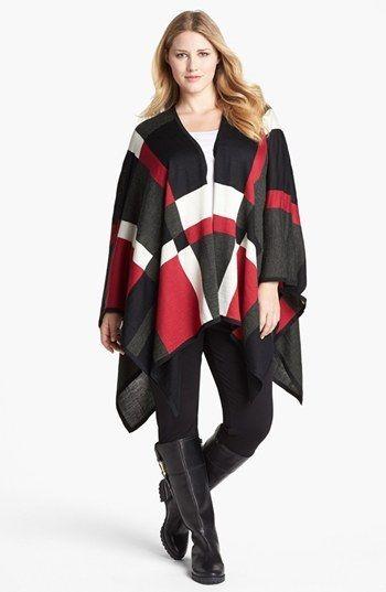Foxcroft Plaid Poncho Sweater (Plus Size). #fashion #women #plus size fashion for women