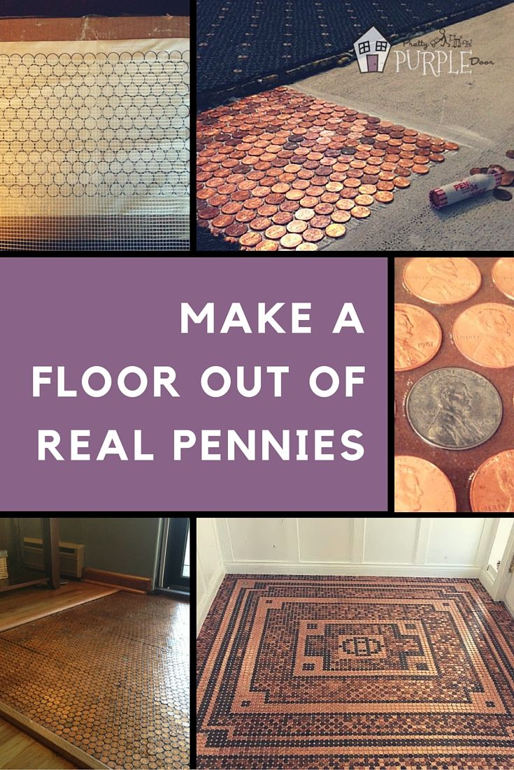 How to Make a Penny Floor Out of Real Pennies. Download the penny floor template to make it so easy! PrettyPurpleDoor.com #pennyfloor #template