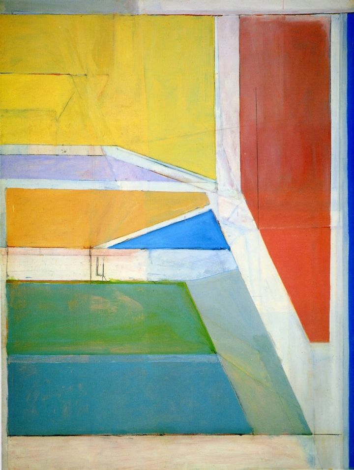 "Richard Diebenkorn, ""Ocean Park #27"" (1970), oil and charcoal on canvas, 100 x 80 inches"