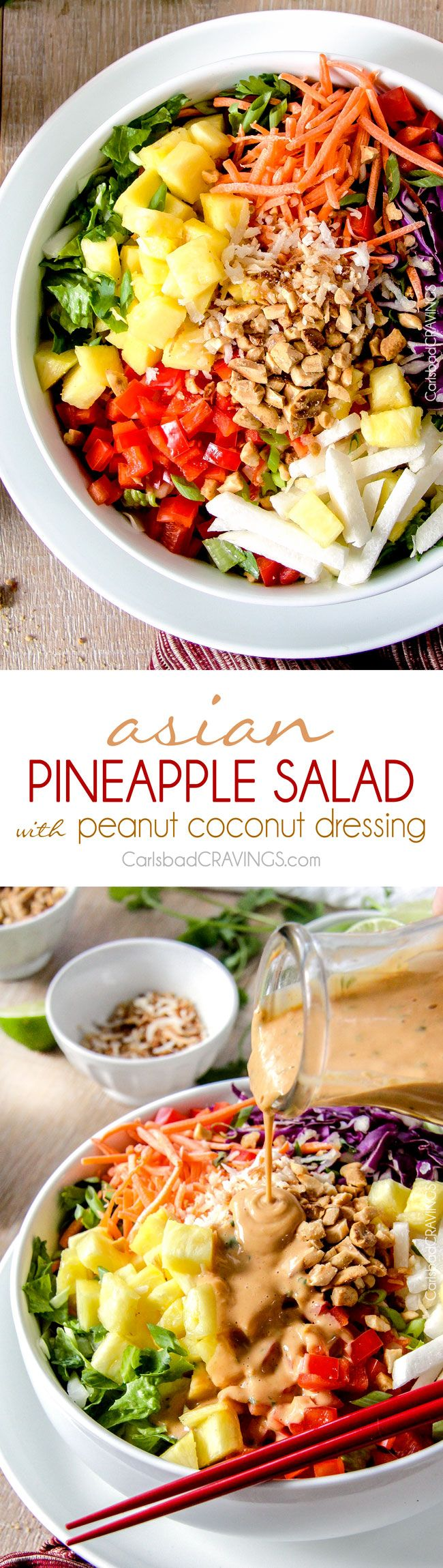 Asian Pineapple Salad with Coconut Peanut Dressing is a salad lover's dream! packed with refreshing pineapple and crunchy peanuts, peppers, carrots, jicama and coconut all doused with the most AMAZING silky Coconut Peanut Dressing that I could drink by itself! via @carlsbadcraving