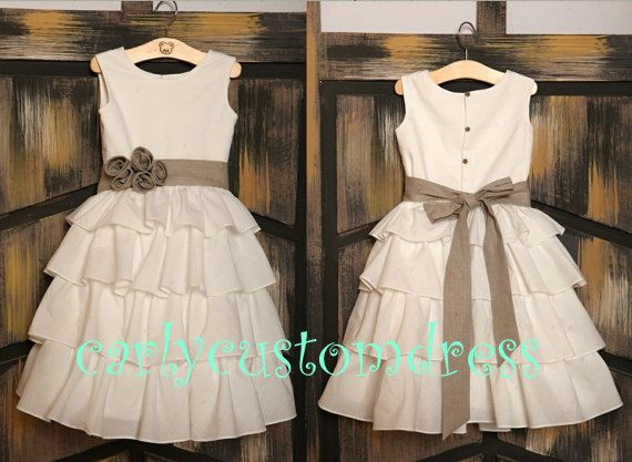 Grey Sash Ivory Rustic Flower Girl Dress/Wedding Baby Dress/Country Baby Girl Dress/1th Birthday Dress 2014