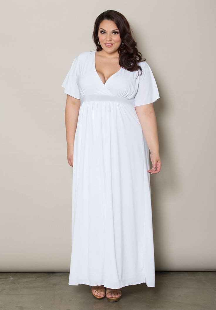 Plus size maxi dresses classic maxi dress in white for Maxi dress for a wedding