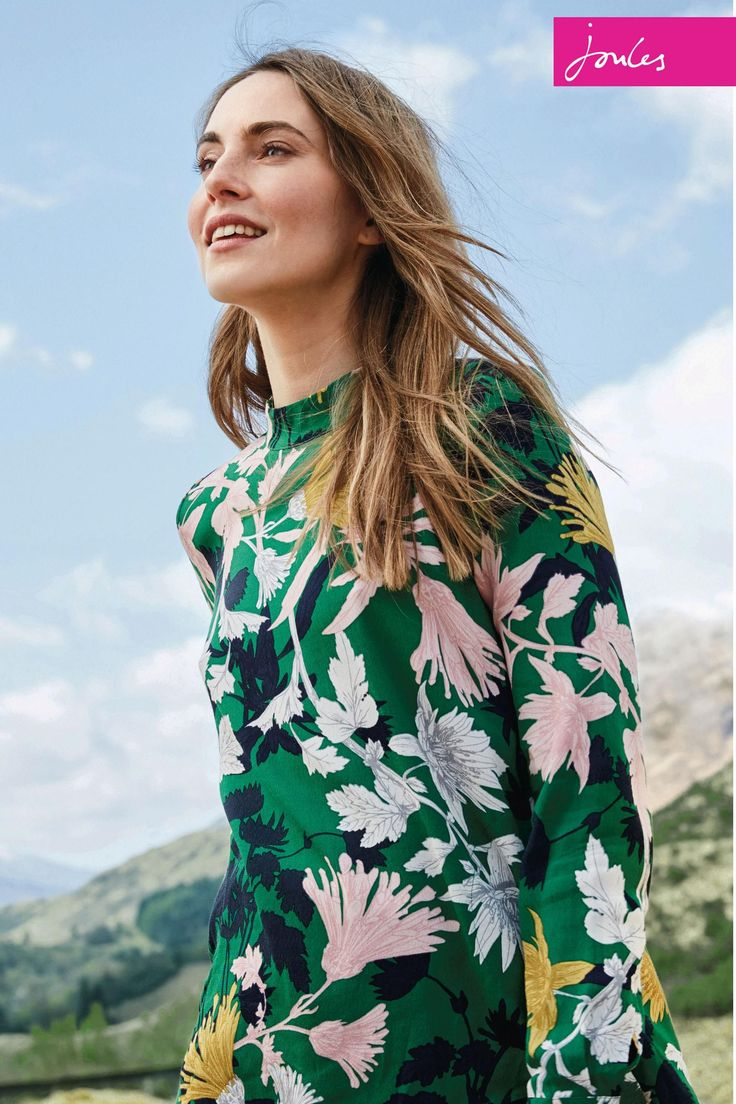 Buy Joules Green Floral High Neck Ada Top from the Next UK online shop