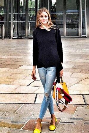 Olivia Palermo posing outside in a Black Orchid Noah Crop Super Skinny Jeans in Love Bug at the art museum and cultural center Louis Vuitton Foundation in Paris, France on July 8, 2015.