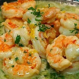 Olive Oil, garlic,  1/2 cup white wine and 1/2 cup chicken broth. 1/4 cup lemon juice,  parsley, salt and pepper. Cook shrimp in olice oil 2-3 minutes. Mix all items and simmer. Pour over shrimp.