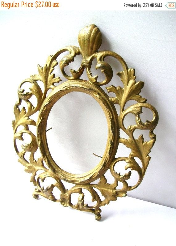 Christmas Sale Antique Brass Frame - Metal Picture Frame - Antique Metal Frame - Brass Picture Frame by BohemianGypsyCaravan