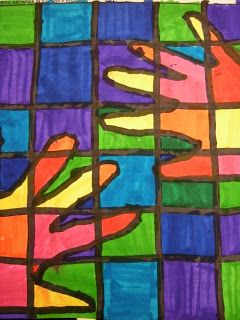 1st grade warm hands cool backgrounds. Yes, the warm/cool hands worked well for first grade. I did go around and trace their hands while they used sharpie due to time and the fact that I wanted them to look nice for the fundraiser. :)
